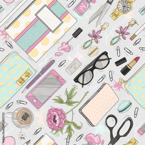 Cotton fabric Seamless beauty pattern with make up, nail polish, flowers, jewe