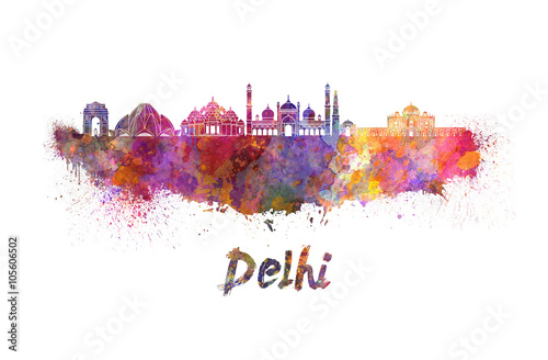 Fotografie, Obraz  Delhi skyline in watercolor