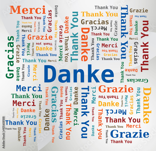 Photo  Merci - Thank You - Danke - Grazie - Gracias Nuage de Mots 5 Langues Français An
