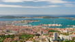 Zoom out timelapse of Toulon in a summer day