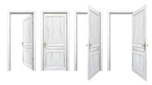 Collection Of Old Wooden Doors Isolated On White