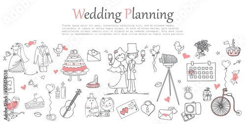 Fotografie, Obraz  Doodle line design of web banner template with outline cartoon wedding icons