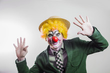 The Clown Joyfully Waving His ...