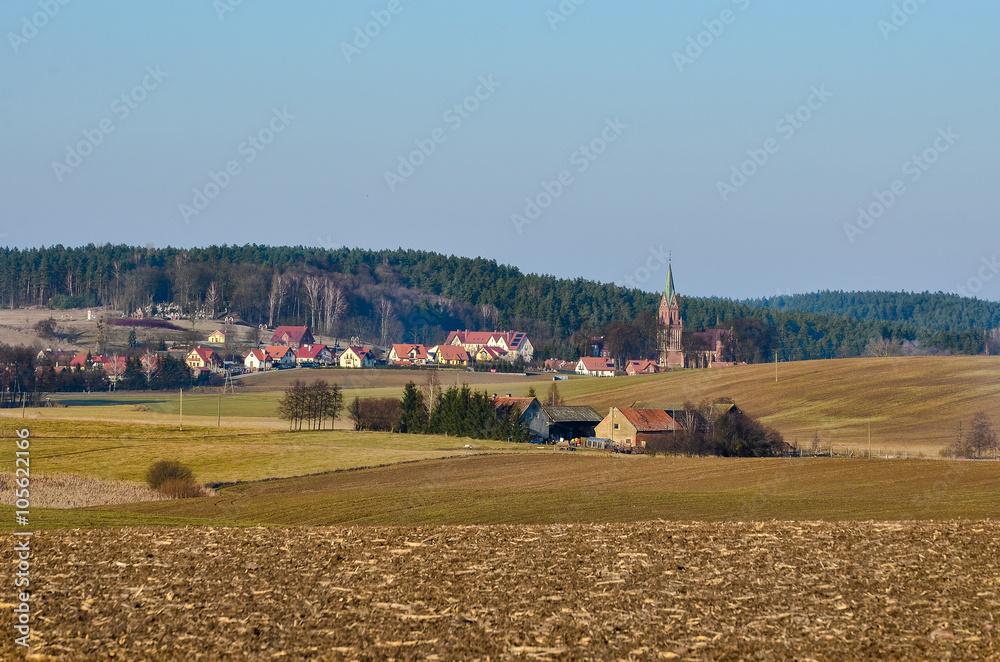 Obraz Widok na wieś Gietrzwałd fototapeta, plakat
