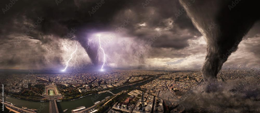 Fototapeta Large Tornado disaster on a city