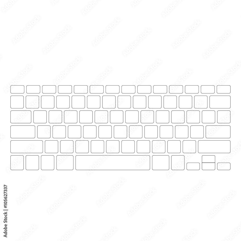 Photo & Art Print Blank white computer keyboard button