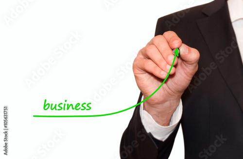 Businessman drawing  increase Business graph, motivation concept Wallpaper Mural
