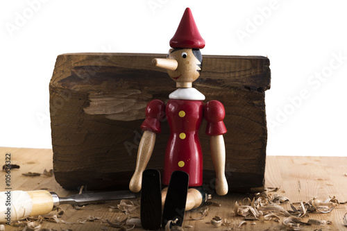 Puppet Pinocchio made of wood and then painted on a white background