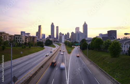 Plakat Atlanta linia horyzontu, Gruzja usa