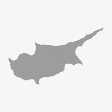Map Of Cyprus In Gray On A Whi...