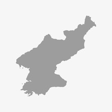 Map Of North Korea In Gray On A White Background