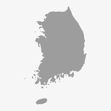 Map Of South Korea In Gray On ...