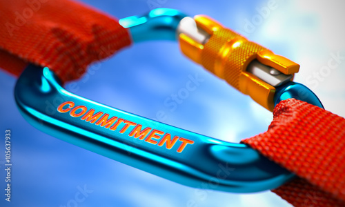 Fototapeta Blue Carabiner between Red Ropes on Sky Background, Symbolizing the Commitment
