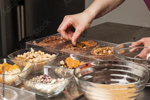 Fotobehang Kruidenierswinkel Preparation of traditional Easter chocolate
