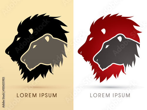 Head Lion and Lioness graphic vector. Canvas Print