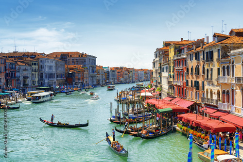 Beautiful view of the Grand Canal from the Rialto Bridge. Venice Wallpaper Mural