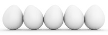 Line Of Five Blank White Eggs