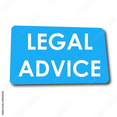 Icono plano LEGAL ADVICE en rectangulo azul con sombra Wallpaper Mural