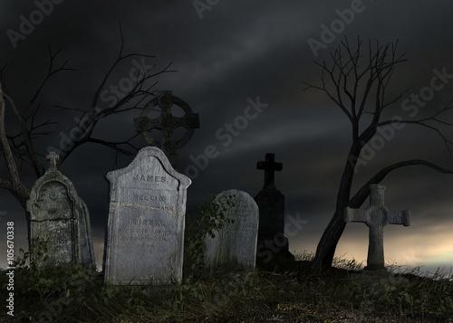 Old dark cemetery Fototapeta