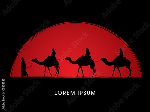 Fotografering  Cameleer with camels on grunge sunset graphic vector