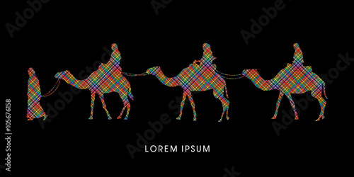 Fotografering  Cameleer with camels designed using colorful line pixels graphic vector