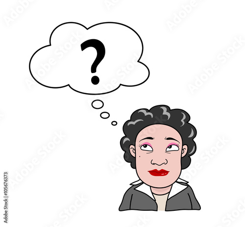 Woman With Question Mark A Hand Drawn Vector Cartoon Illustration Of A Career Woman Thinking About Something Buy This Stock Vector And Explore Similar Vectors At Adobe Stock Adobe Stock