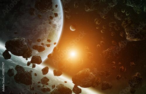 Obraz na płótnie wschód słońca w odległym kosmosie