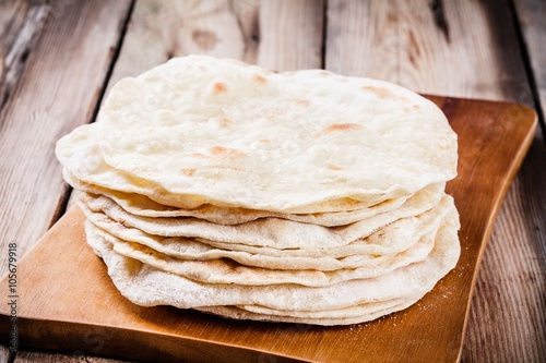 Fotografie, Obraz  Stack of homemade wheat tortillas
