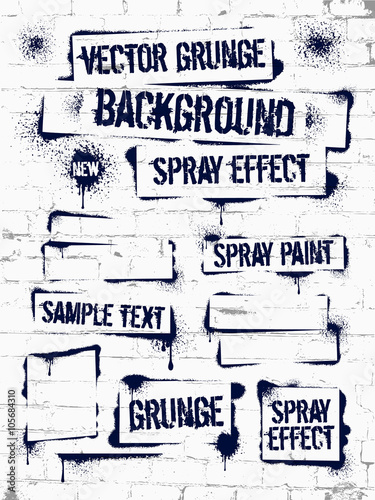 Various Spray paint graffiti on brick wall. Frame with black ink blots. Spray grunge background.