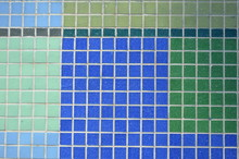 Real Blue, Green, Tiled Wall Pattern