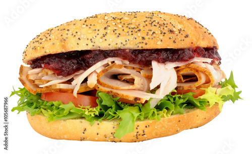 Photo  Turkey And Salad Sandwich With Cranberry Jelly