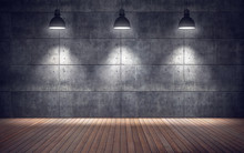 Empty Room With Lamps. Wooden ...
