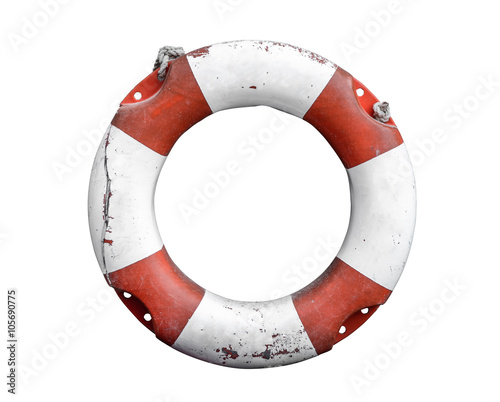 Photo Stands Ship Isolated Rustic Lifebuoy Or Life Preserver