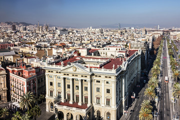 Panel Szklany Barcelona city panoramic view, Spain