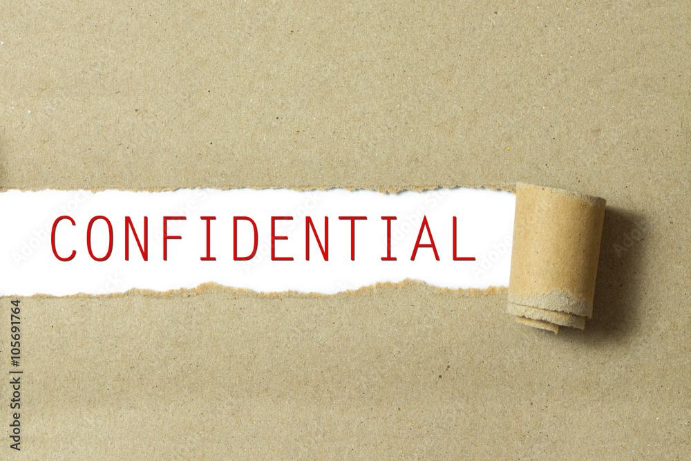Fototapeta Red color confidential word
