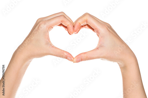 Fotografie, Obraz  Female hands in the form of heart isolated on white background