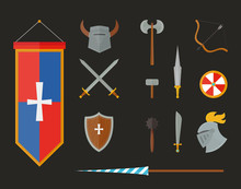 Knight Armour With Helmet, Chest Plate, Shield And Sword Flat Vector Illustration Isolated On White Background.