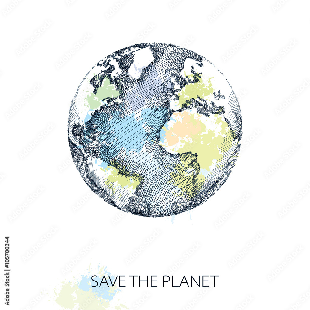 Fotografie, Obraz Vector sketch of earth planet in black isolated on white background with pastel blots