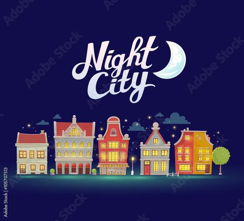 Spoed Foto op Canvas Violet Vector illustration of night city landscape on dark blue sky bac
