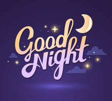 Vector Illustration Of Wish Good Night On Dark Purple Sky Backgr