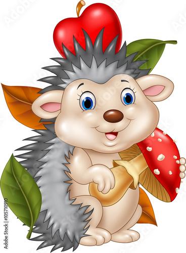 In de dag Indiërs Adorable baby hedgehog holding mushroom