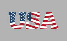 USA Flag In  Text. American Fl...