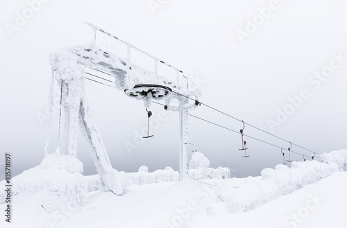 Photographie  Snowy anchor elevator in Levi, Finland