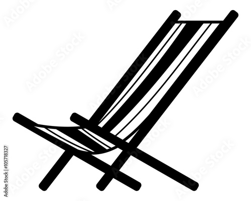 deckchair silhouette isolated on a white background Wallpaper Mural