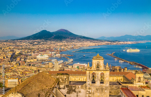 Poster Naples City of Naples with Mt. Vesuv at sunset, Campania, Italy