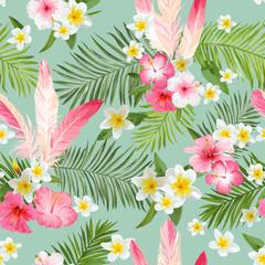 Fototapeta Egzotyczne Tropical Flowers Background. Vintage Seamless Pattern. Vector Pattern