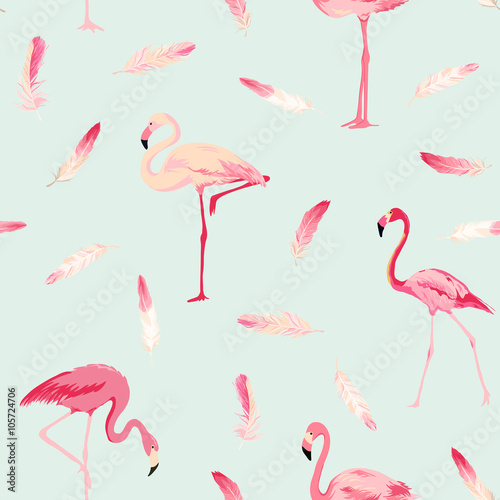 Fotobehang Flamingo vogel Flamingo Bird Background. Flamingo Feather Background. Retro Seamless Pattern