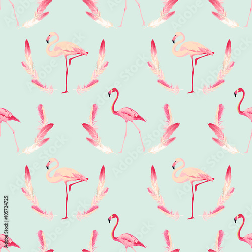 Tuinposter Flamingo Flamingo Bird Background. Retro Seamless Pattern. Vector Feather