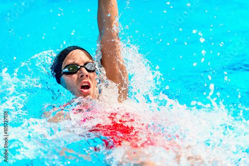 Backstroke swimming Wallpaper Mural