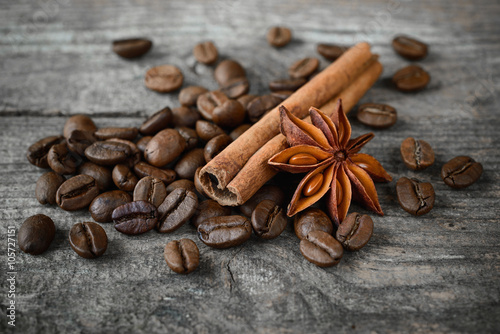 Slika na platnu Kahve çekirdekleri, tarçın ve anason